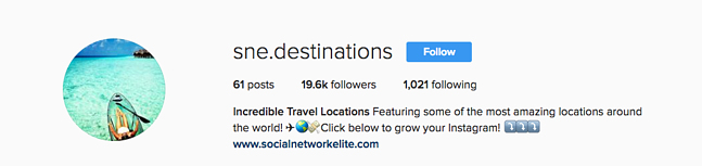 Social Network Elite Travel Account
