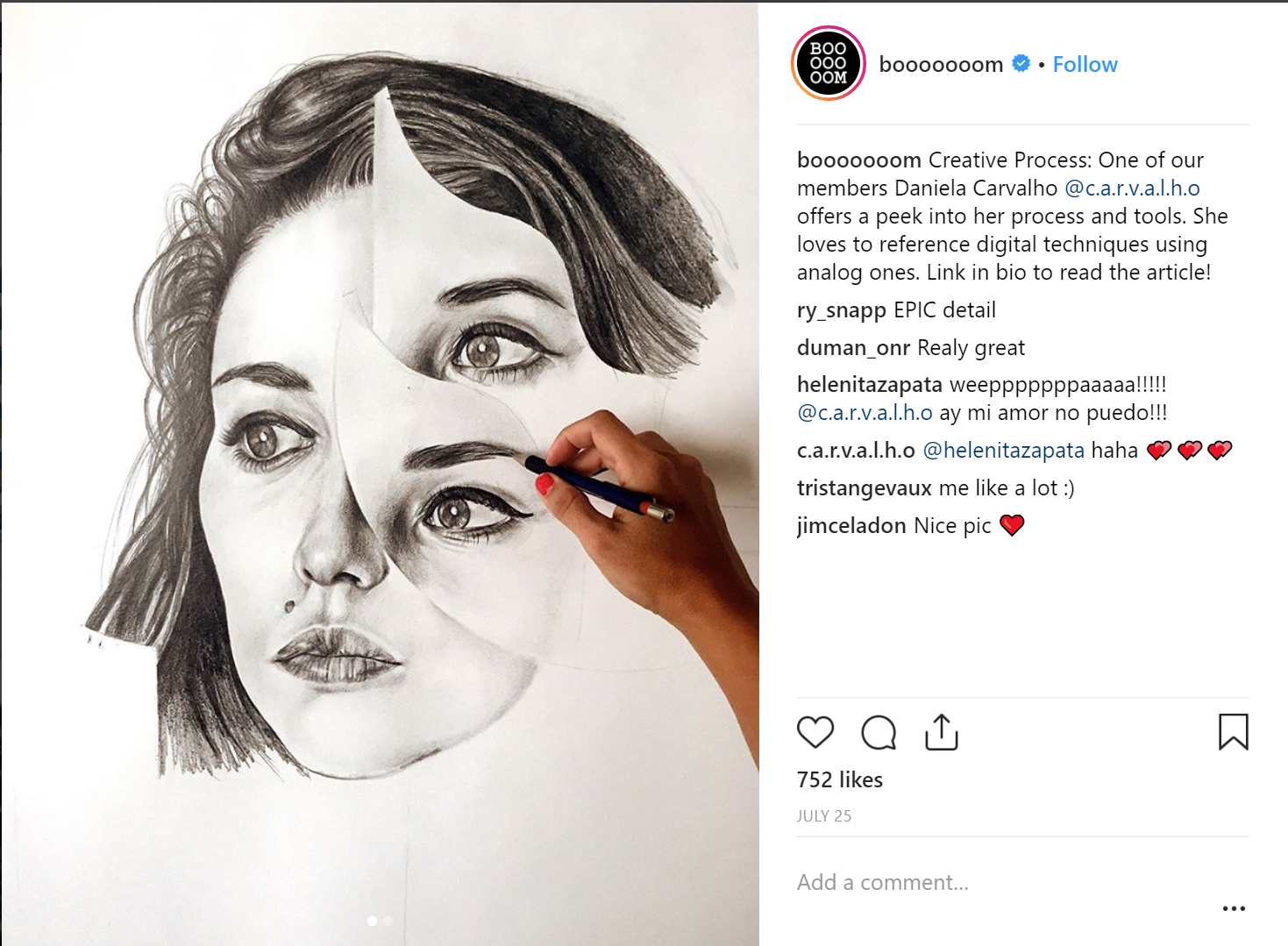 Instagram artist boooooom account