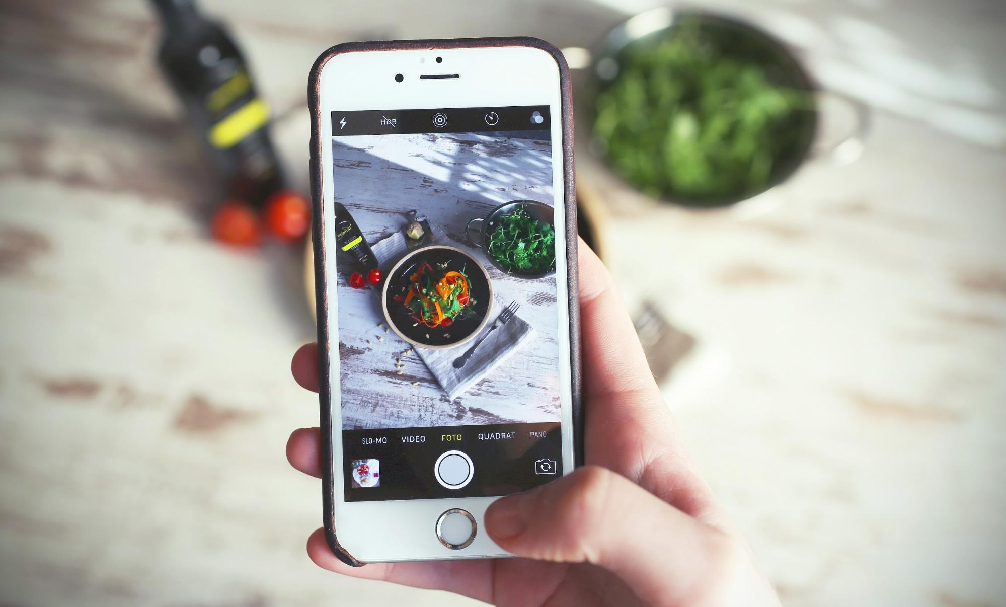 Taking a picture of food needing a foodie hashtag