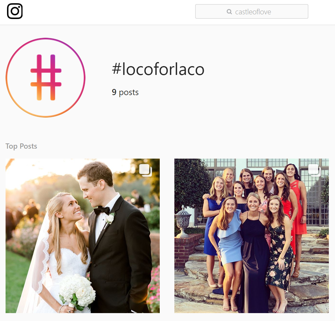 A unique wedding hashtag on instagram for loca